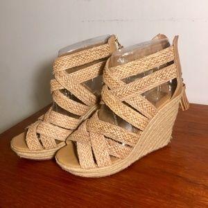 DV braided espadrille wedge heels BOHO 9